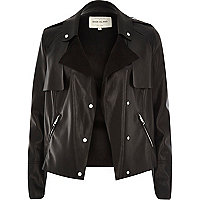 Black leather-look cropped trench jacket
