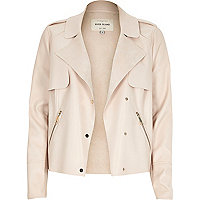 Light pink leather-look cropped trench jacket