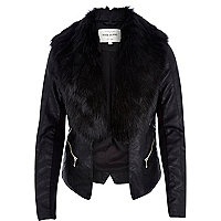 Black leather-look faux fur jacket