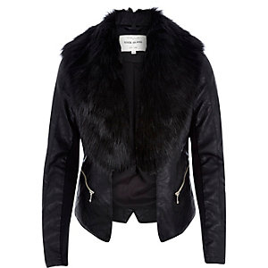 Black leather-look faux fur jacket