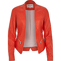 Red leather-look fitted jacket