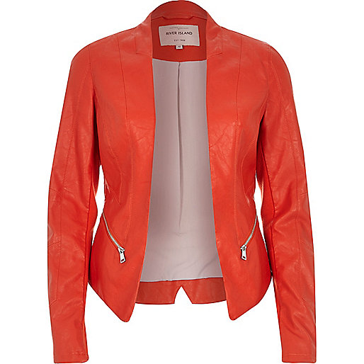 veste ceintré simili cuir rouge river island
