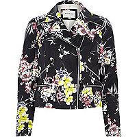 Black floral leather-look zip biker jacket
