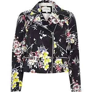 Black floral leather-look zip biker jacket