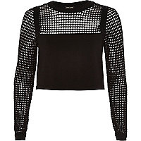 Black grid mesh top