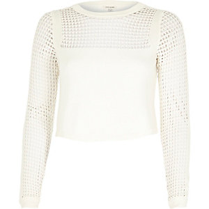 White mesh insert crop top