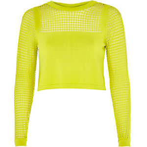 Lime green mesh insert crop top