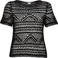 Black backless crochet top