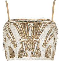 Gold bead embellished bralet