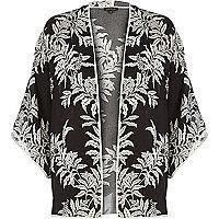 Black leaf print kimono