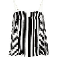 Black stripe button cami