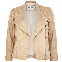 Light beige faux suede biker jacket
