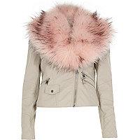 Beige leather-look faux fur trim biker jacket