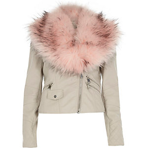 Beige leather-look faux fur trim biker jacket