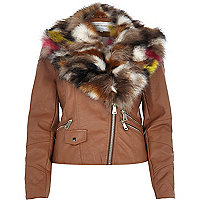 Brown leather-look faux fur trim biker jacket