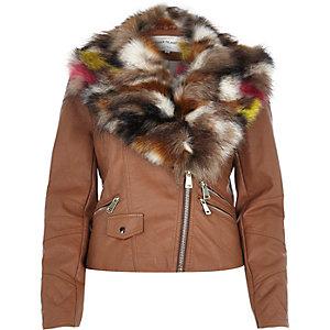 Brown leather-look faux fur trim biker jacket