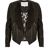 Black leather-look lace back waterfall jacket