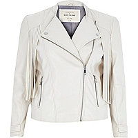 Cream leather-look fringed biker jacket