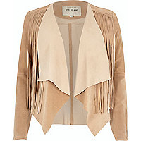Light brown suede fringed jacket