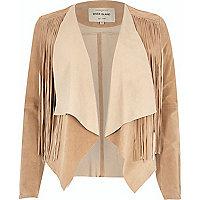 Light brown suede fringed jacket