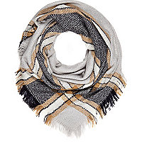 Grey tartan blanket scarf