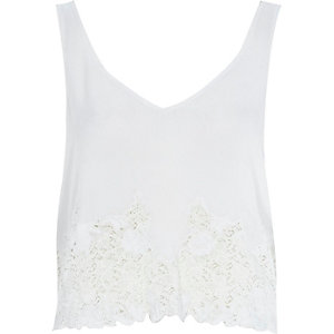 Cream lace front tank top