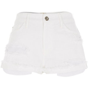 White distressed frayed hem Ruby denim shorts