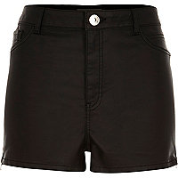 Black coated high waisted pin up shorts