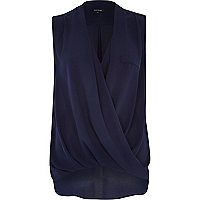 Navy wrap front sleeveless blouse