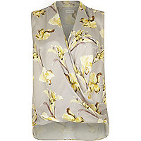 Grey floral print sleeveless wrap blouse