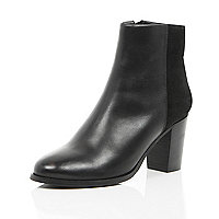 Black leather contrast back heeled boots
