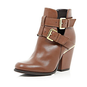 Brown leather cut out buckle ankle boots