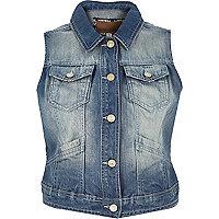 Blue worn denim waistcoat