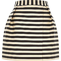 Navy stripe smart woven wrap front mini skirt