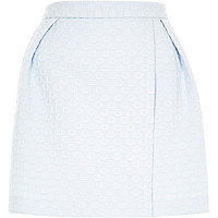 Blue woven square wrap front mini skirt