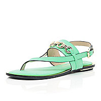 Green chain strap sandals