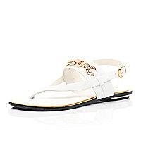 White chain strap sandals