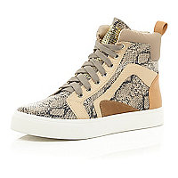 Beige snake print high top trainers