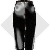 Black stripe zip front pencil skirt