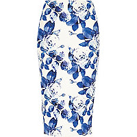 Blue floral wrap pencil skirt