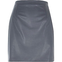 Grey leather-look A-line skirt