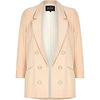Pink ruched 3/4 sleeve blazer