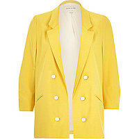 Yellow 3/4 sleeve relaxed blazer