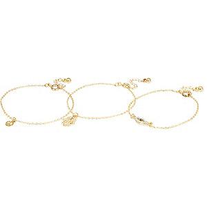 Gold tone skinny charm bracelet pack