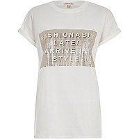 White fashionably late oversized t-shirt