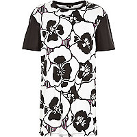 White large pansy print oversized tunic