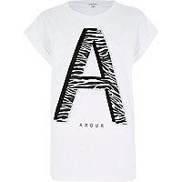White amour zebra print t-shirt
