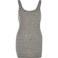 Grey ribbed scoop neck vest