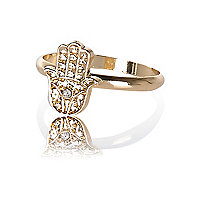 Gold tone hamsa hand ring