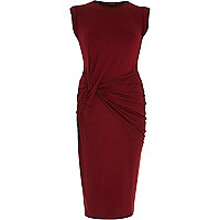 Red twist front jersey bodycon pencil dress